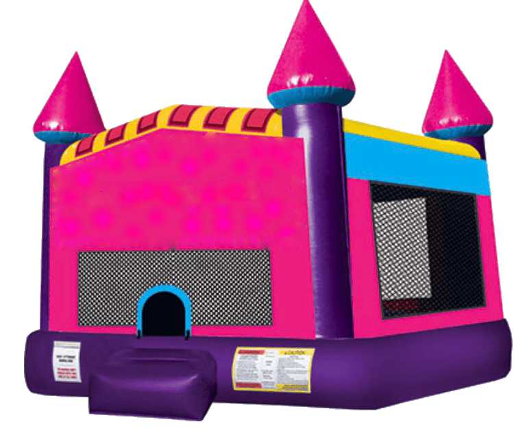 Pink purple dream castle bouncer Pearland TX moonwalk rental